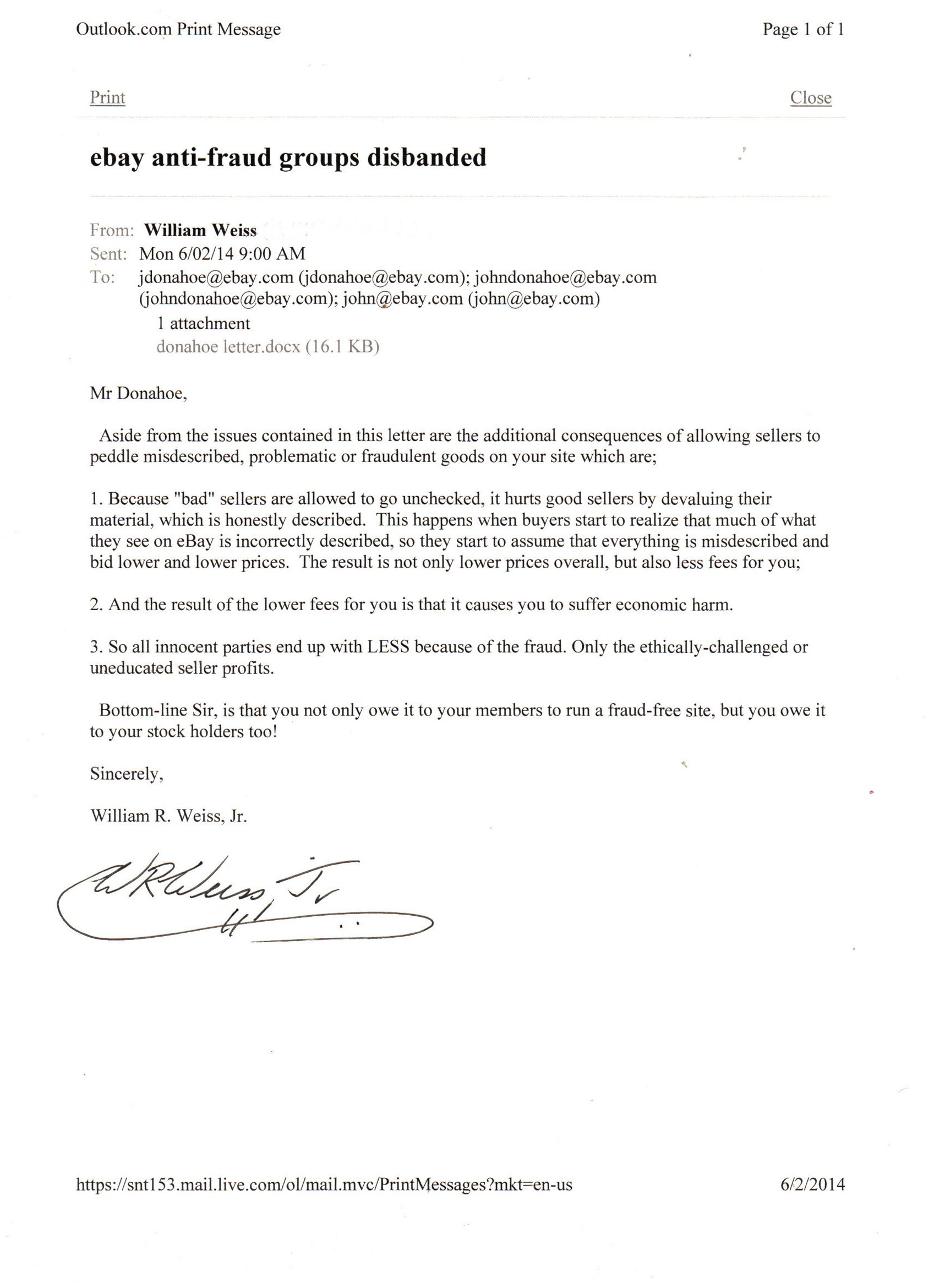 Letters To Ebay Ceo Donahoe Protesting Emr Elimination Stamp Community Forum