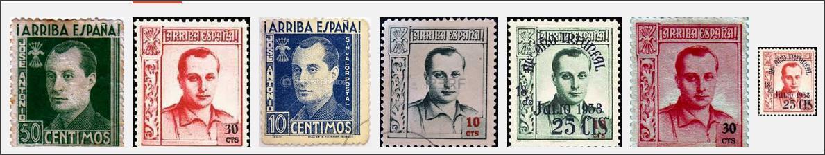 2 Spanish Civil War Postage Stamp Money 1938,10 Centimos