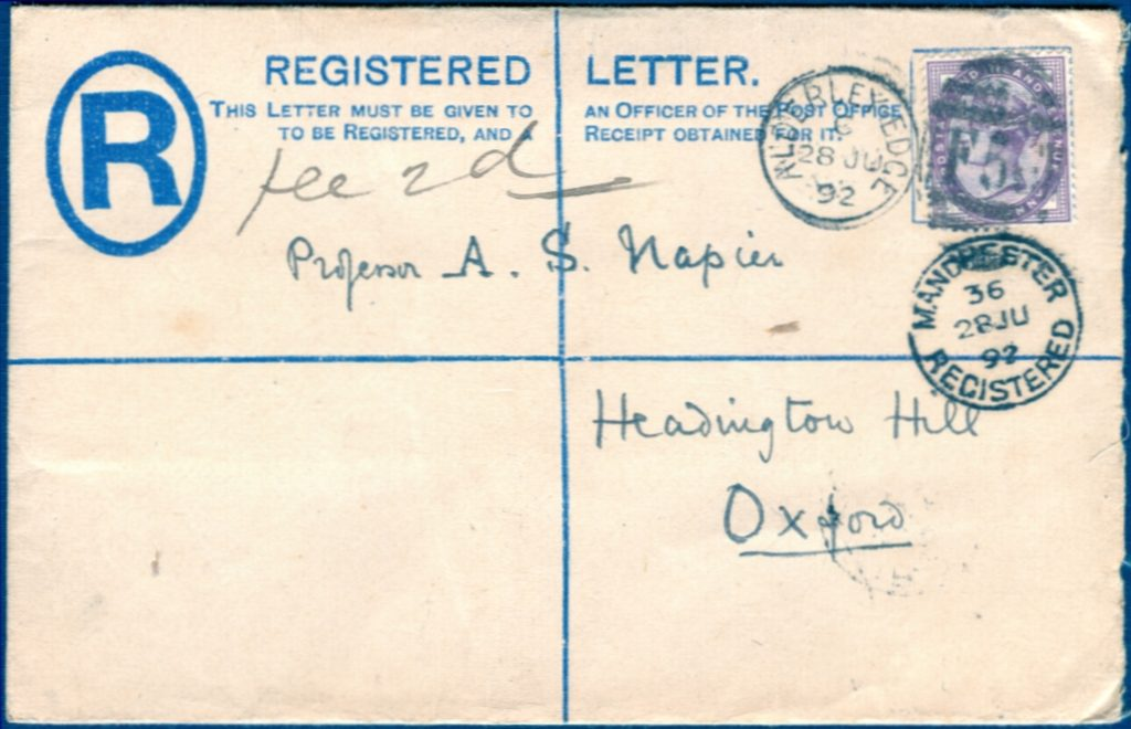 registered letter great britain 1892 registered letter rp16 qv 2d blue 24259 | 20120203 GBRegistered28Jul1892